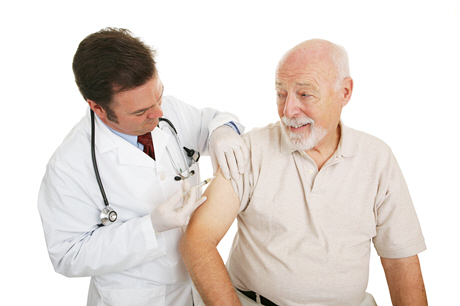 elderly male blood sample to doctor