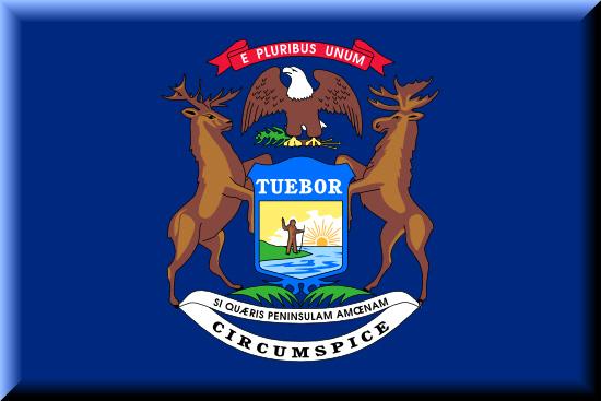 Michigan state flag, medical clinics