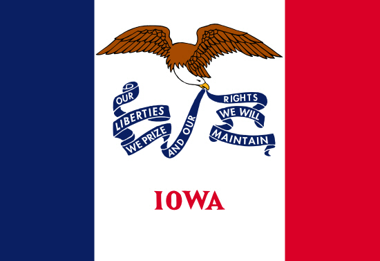 Iowa state flag, medical clinics